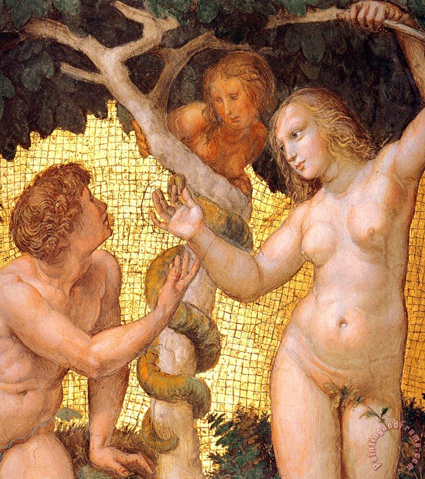The Stanza Della Segnatura Ceiling Adam And Eve [detail 1] painting - Raphael The Stanza Della Segnatura Ceiling Adam And Eve [detail 1] Art Print